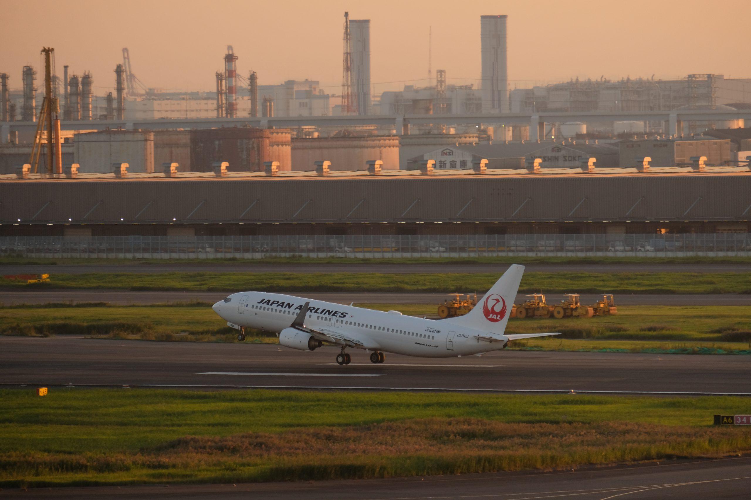 羽田空港 南風 JAL 離陸